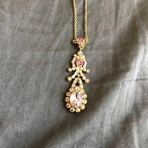 Delicate Pink Gem Necklace